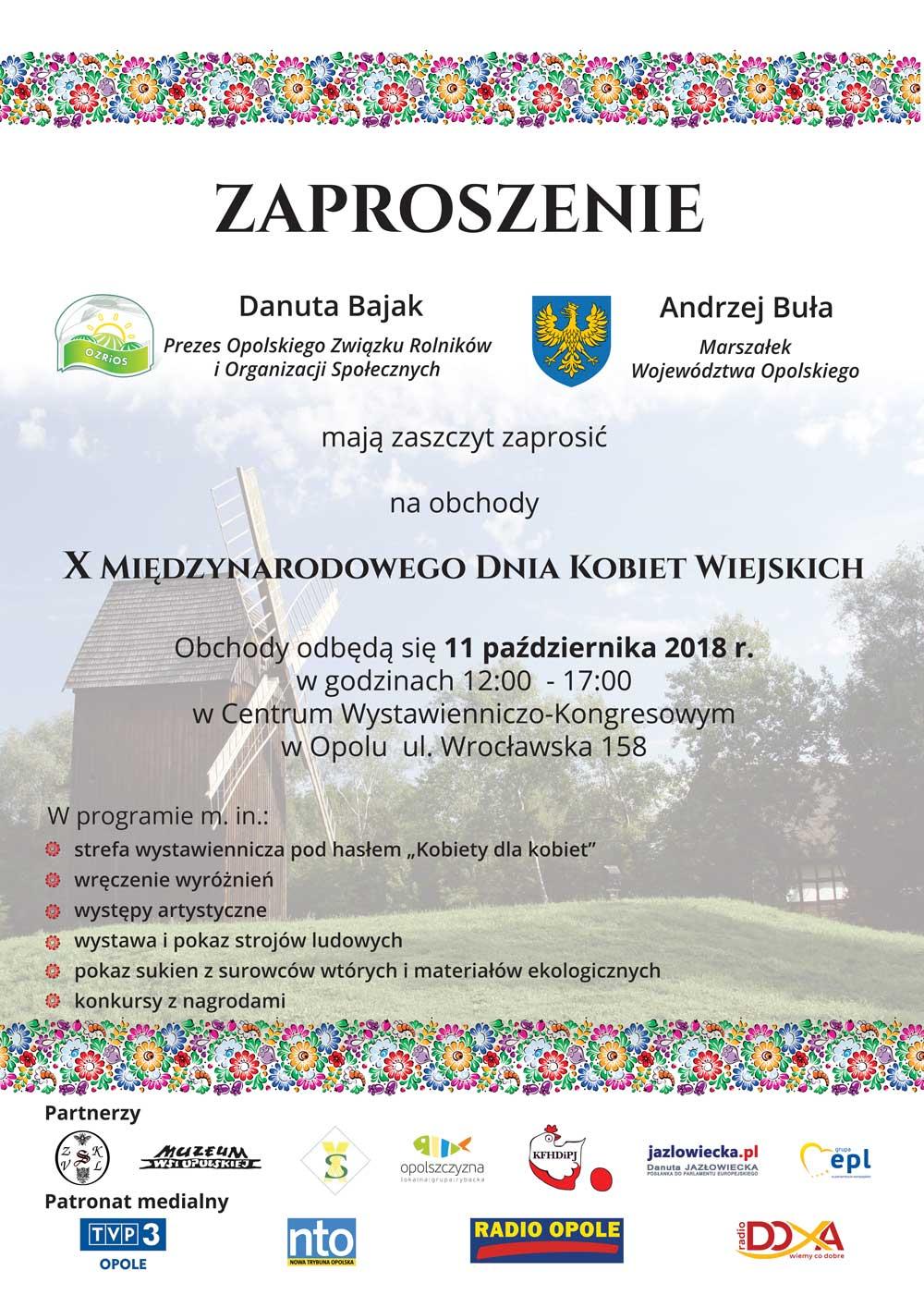 Zaproszenie na X Międzynarodowy Dzień Kobiet Wiejskich